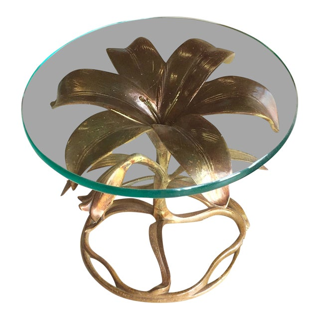 20th Century Hollywood Regency Arthur Court Lily Side Table For Sale