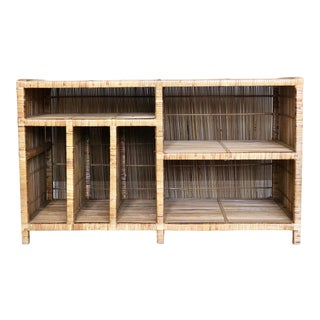 1970s Boho Chic Rattan Wrapped Bookshelf For Sale