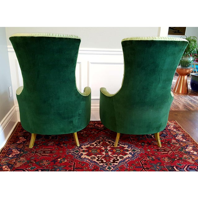 Textile Emerald Green Velvet Club Chairs - A Pair For Sale - Image 7 of 8