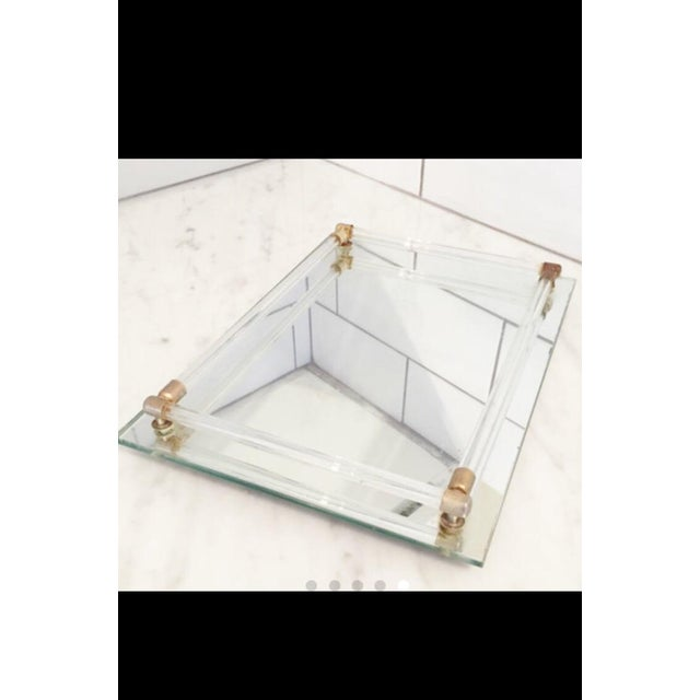 Vintage Lucite & Brass Mirrored Tray - Image 2 of 3