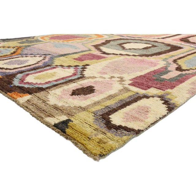80481, contemporary Moroccan Area rug with Postmodern style and warm pastel colors. This hand knotted wool contemporary...