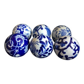 Blue & White Toile Inspired Decorative Spheres - Set of 6