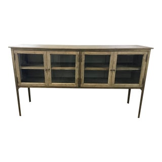 Modern Rustic Marquetry Top Wood and Metal Sideboard For Sale