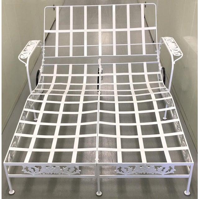 Salterini 1950s Salterini White Wrought Iron Double Chaise Longue w/ Custom Cushion For Sale - Image 4 of 8