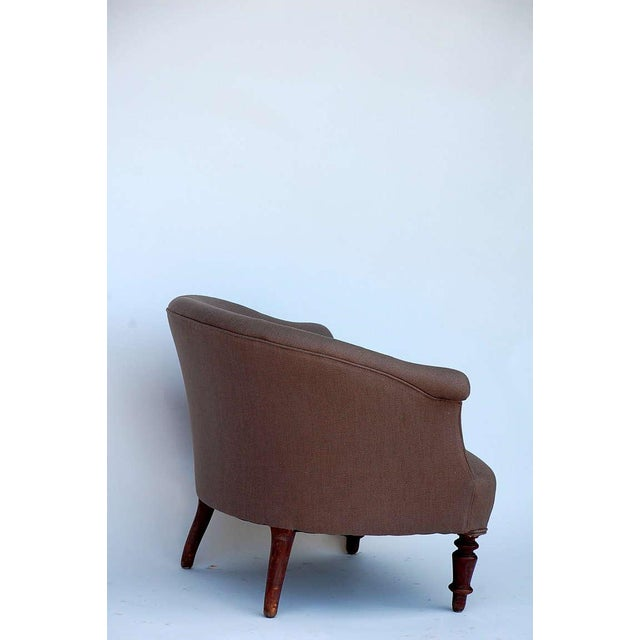 Turned Wood Leg Napoleon III Round Bergere For Sale - Image 4 of 7