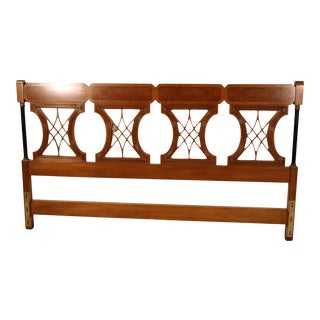 Solid Cherry Ebonized French Empire Style King Size Headboard, Circa 1950 For Sale