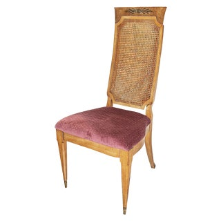 1970's High Caned-Back Side Chair For Sale
