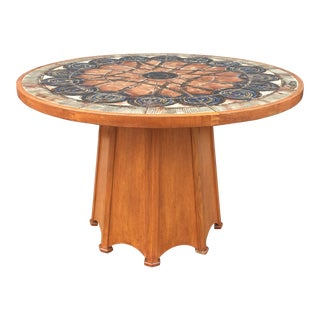 Mid Century Ceramic and Teak Dining Table For Sale