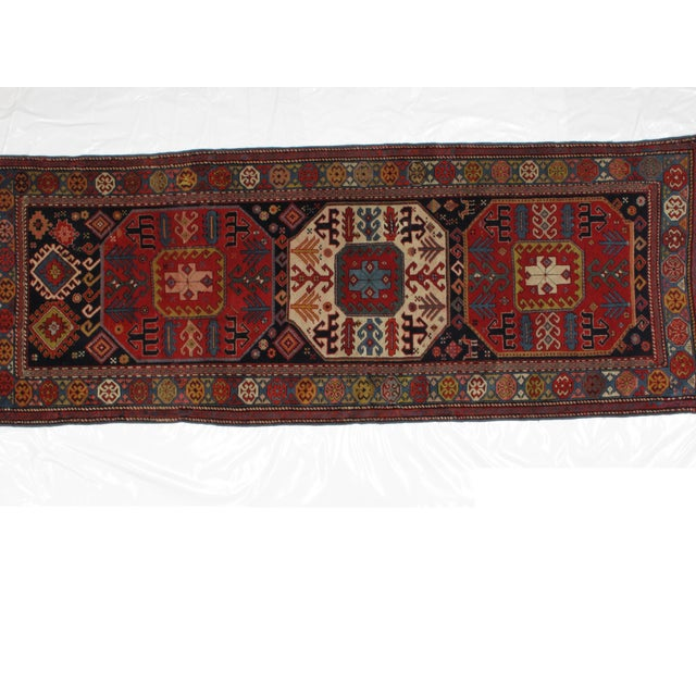 This master piece is a wool on wool pile genuine hand woven antique Russian Karabagh .