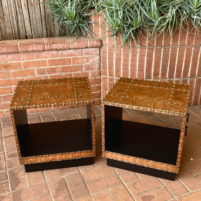 Mid-Century Modern 1960s Copper Clad End Tables - a Pair For Sale - Image 3 of 6