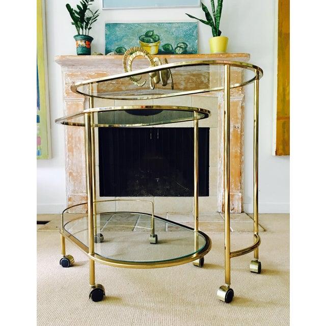 Mid Century Bar Cart Brass Swivel Triple Tiered - Image 6 of 11