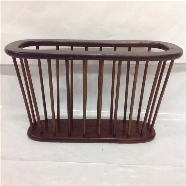 Arthur Umanoff Walnut Spindle Magazine Rack - Image 3 of 5