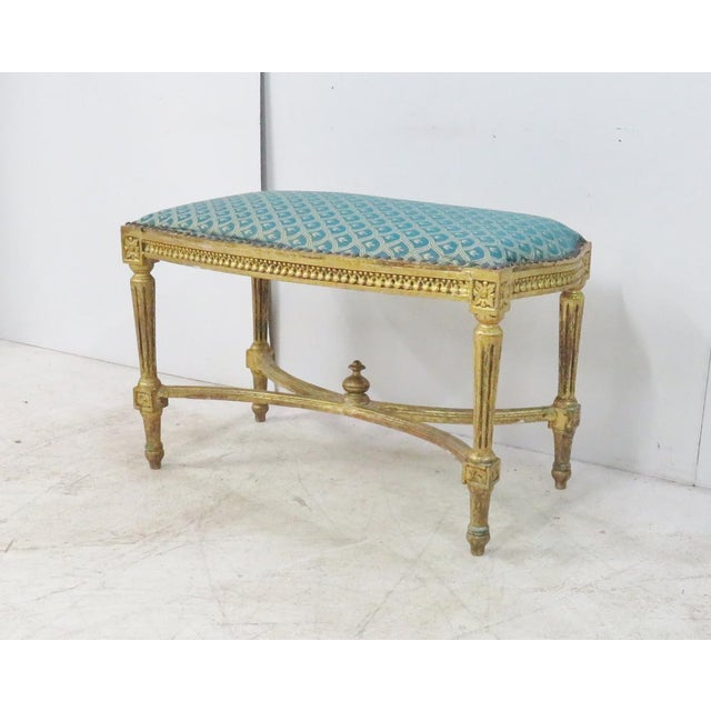 Wood Louis XVI Blue & Gold Gilt Bench For Sale - Image 7 of 7