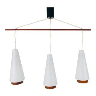 1960s Mid-Century Modern Opaline Glass and Teak Pendant Lamp, Denmark For Sale