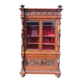 Italian Carved Walnut Cherub Lions Bookcase China Cabinet For Sale