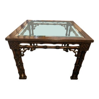 1980s Chippendale Fretwork Faux Bamboo Palm Beach Coffee Table For Sale