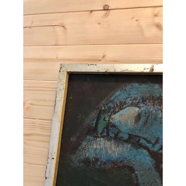 Mid 20th Century Vintage Mid-Century Blue Reclining Nude Oil Painting by Etienne Ret For Sale - Image 5 of 10
