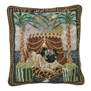 Vintage Pug Wool Needlepoint Pillow For Sale