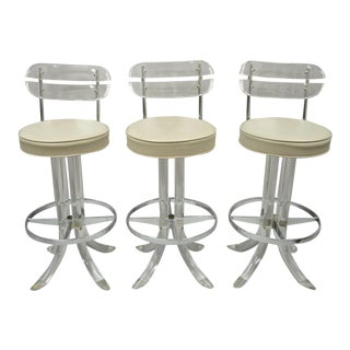 Hill Mfg Lucite Swivel Seat Tusk Barstools Chair Charles Hollis Jones - Set of 3 For Sale