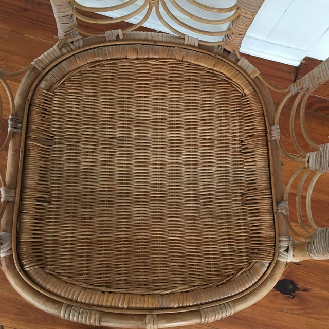 Brown Vintage Rattan Chair For Sale - Image 8 of 10