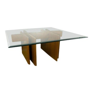 "1990s Danish Modern Gustav Gaarde for Trekanten 42"" Square Teak Glass Coffee Table"