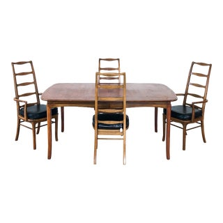 Mid Century Modern Rosewood Dining Set, With 4 Ladder-Back Chairs For Sale