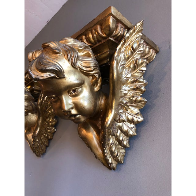 Gesso 19th Century Italian Baroque Style Gilt Wood Wall Brackets - a Pair For Sale - Image 7 of 13