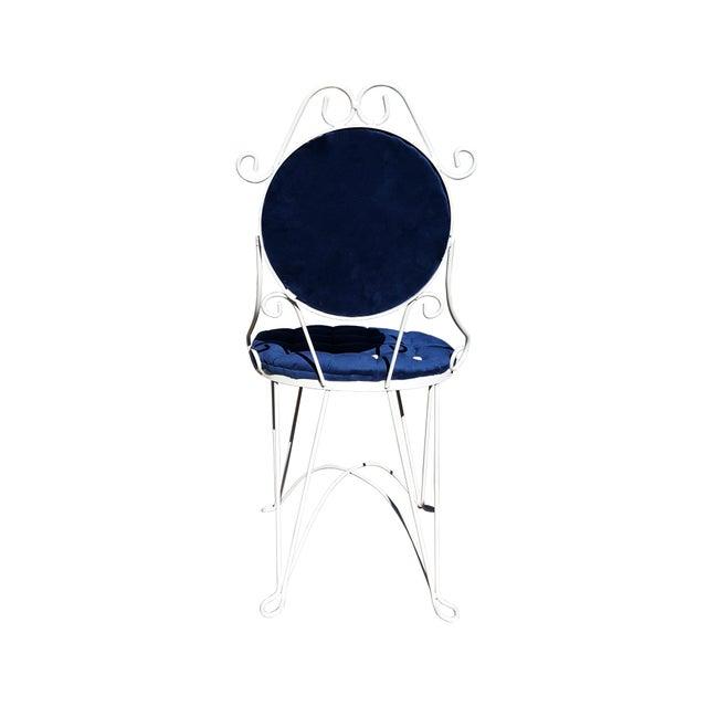 1960s 1960s Antique Iron Blue Velvet Vanity Single Chair For Sale - Image 5 of 7