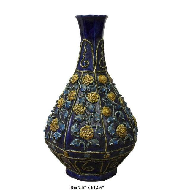 Handmade Ceramic Navy Blue Dimensional Flower Vase Chairish