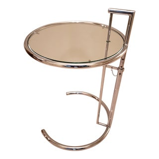 Vintage Modern Adjustable Chrome and Glass Round Side Table For Sale