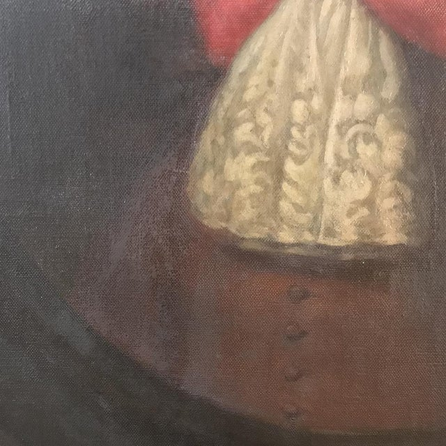 Canvas 18th Century Framed Oil Portrait on Canvas For Sale - Image 7 of 12