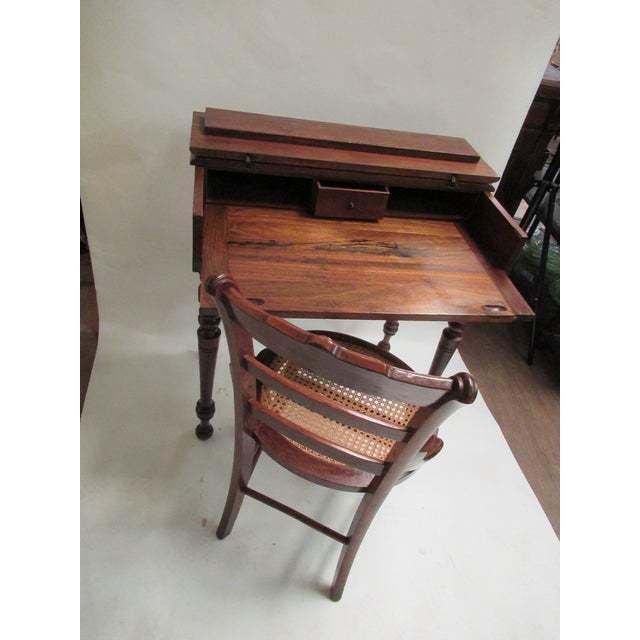 Brown 1930s Children's Spinet Flip Top Walnut Writing Desk with Caned Chair For Sale - Image 8 of 13