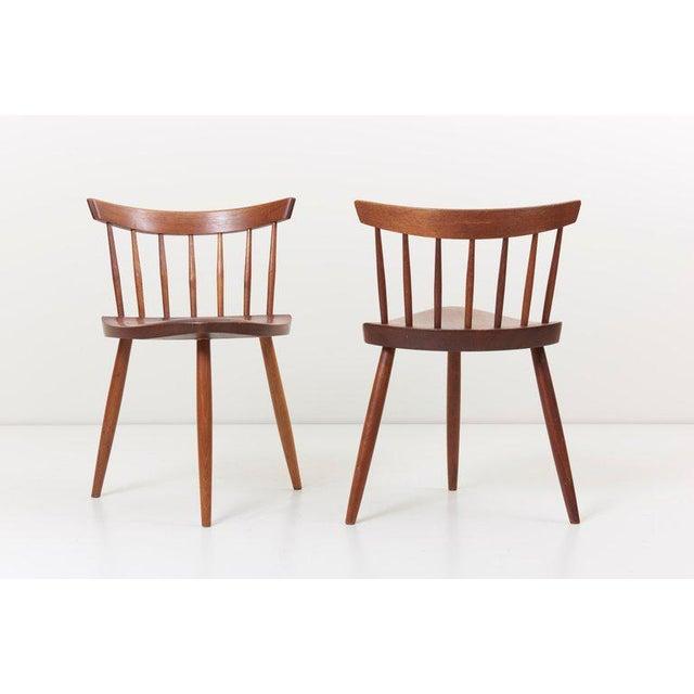 1960s Pair of George Nakashima Studio Mira Nakashima Mira Chair in Walnut For Sale - Image 5 of 10