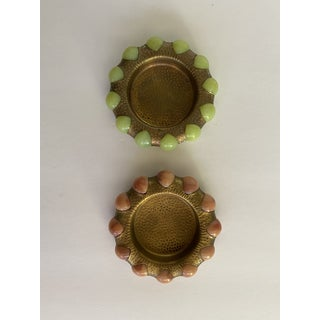 Vintage Brass and Stone Ball Ashtray Dishes- a Pair Preview