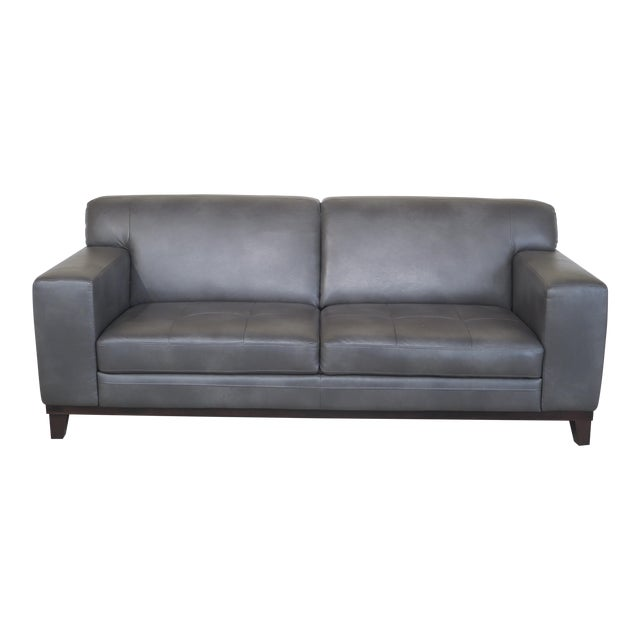 Modern Grey Leather 2 Cushion Sofa For Sale