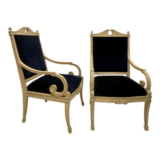 Carved French Bergere Chairs - A Pair For Sale