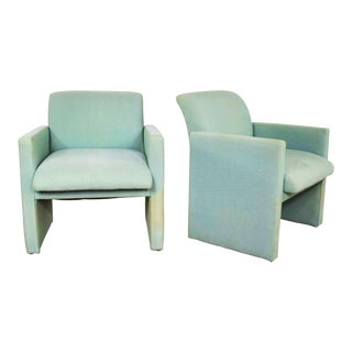 Pair of Petite Modern Accent Chairs in Sea Green For Sale