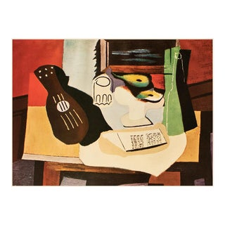 """1954 Pablo Picasso """"Fruit Bowl and Guitar"""", Large Period First Limited Italian Edition Lithograph For Sale"""