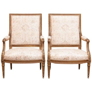 Louis XVI 19th Century Gilded Fauteuils - Pair For Sale