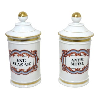 Antique Paris Porcelain Drug Store Apothecary Jars a Pair For Sale