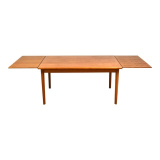 Danish Modern Teak Draw Leaf Dining Table For Sale