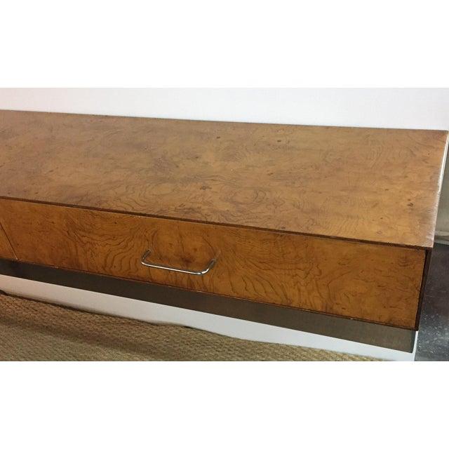 Mid-Century Burlwood Floating Console Table, Desk - Image 4 of 10