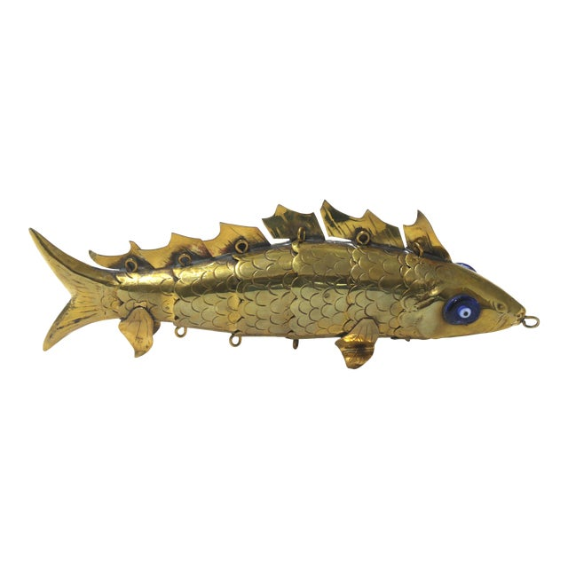 Mid-Century Modern Articulated Fish Sculpture From Malta For Sale