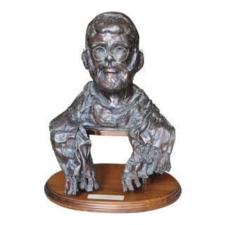 Vintage Owen H. Gumbin Bronze Sculpture of a Rabbi For Sale