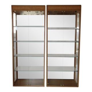 Henredon Scene Two Burl Wood Display Cabinets - A Pair
