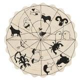 Image of Modern Schumacher Charlap Hyman Herrero Astrologia Zodiac Beige Abaca Fiber Round Rug - 5′10″ × 5′10″ For Sale