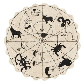 Modern Schumacher Charlap Hyman Herrero Astrologia Zodiac Beige Abaca Fiber Round Rug - 5′9″ × 5′9″ For Sale