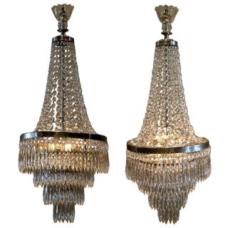 Pair of Three-Light Tent-and-Cascade Chandeliers, circa 1935 For Sale