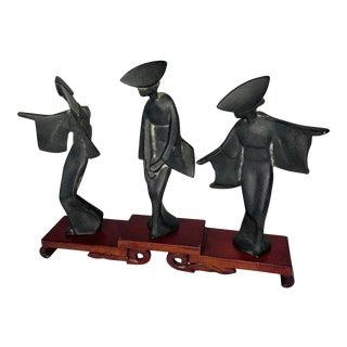 Mid Century Japanese Asian Cast Iron Geisha Figurines on Stand - 4 Piece Set For Sale