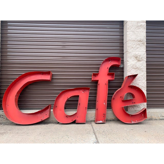Absolutely fabulous vintage Cafe sign from Bordeaux, France. This piece was purchased at The Antique Fair in Bordeaux in...